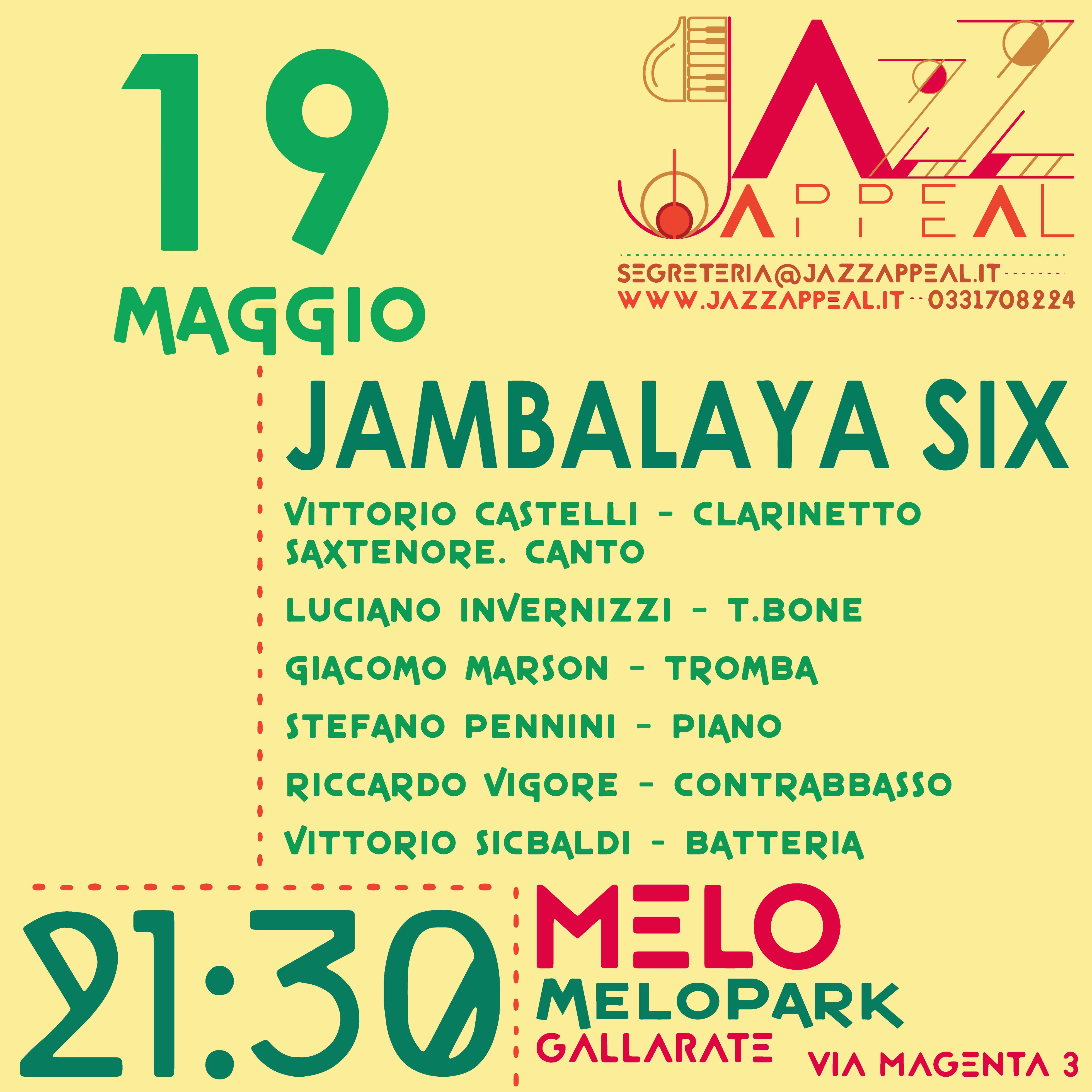 Jambalaya Six Jazz Appeal Gallarate Maggio